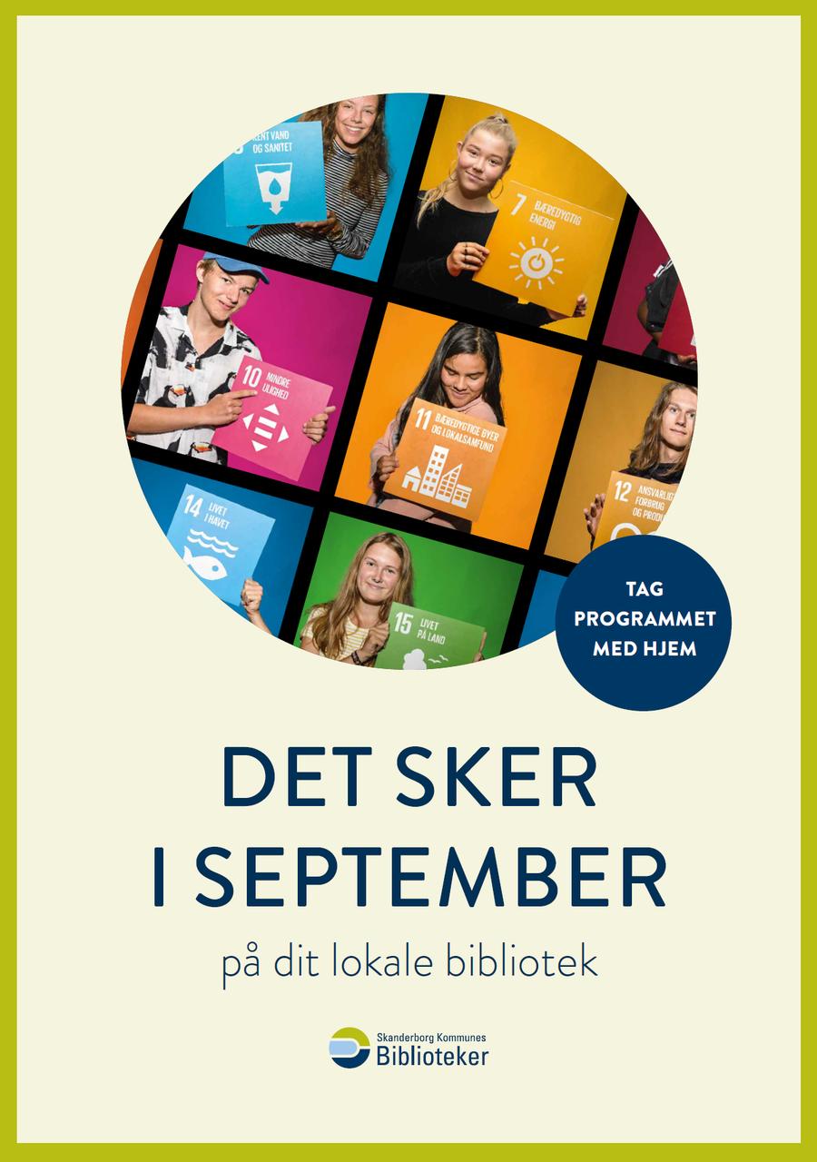 Billede af forsiden på septembers arrangementsfolder - Billedet forestiller en række børn og er fra bibliotekets fokus på FNs verdensmål