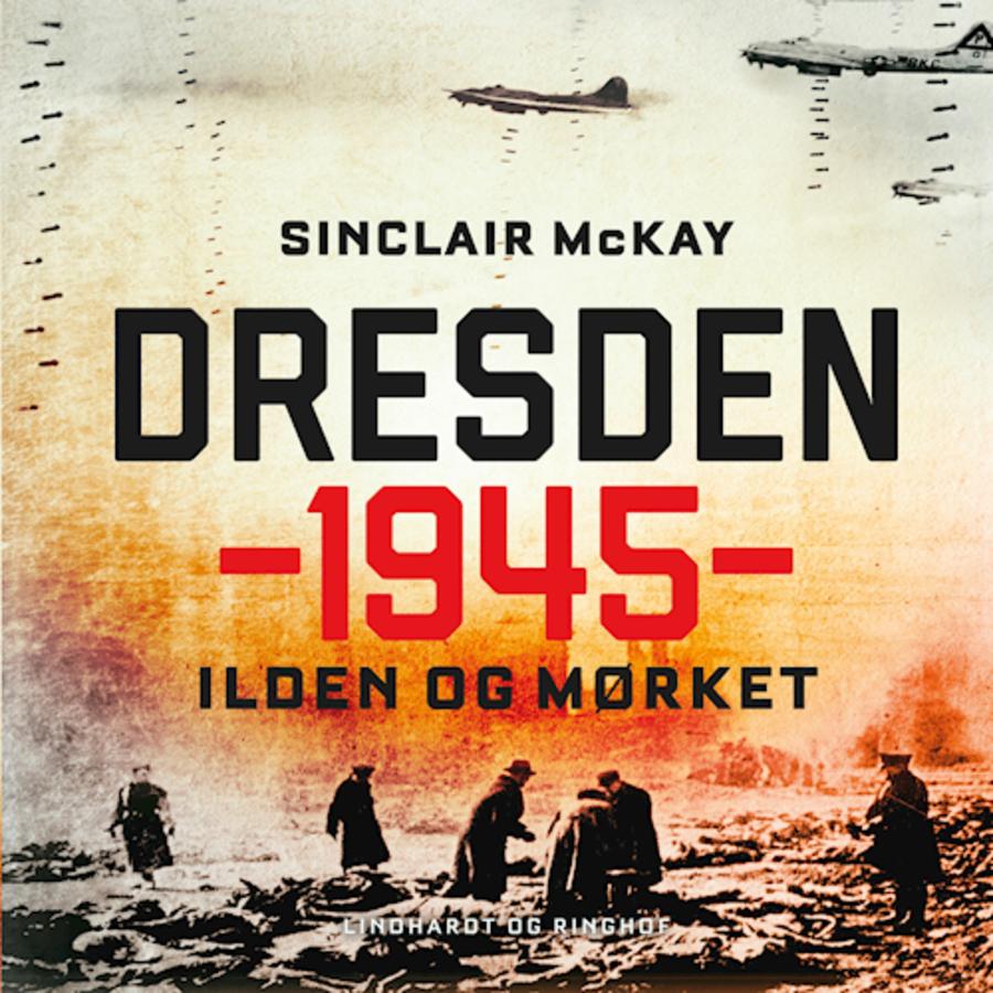 """Billede af forside fra bogen """"Dresden 1945 - Ilden og mørket"""". Forsiden forestiller de overlevende som roder rundt i murbrokker efter et bombardement"""