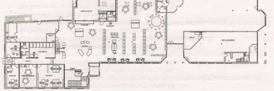 Oversigt over stueplanen på det nye Ry Bibliotek